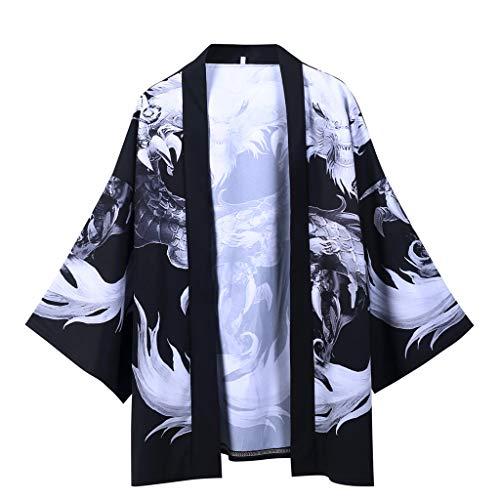 Estilo de Los Hombres de JapóN ImpresióN China con Estampado de DragóN Coats Yukata Cardigan Vintage Harajuku de La Blusa Tradicional Japonesa Kimono Cosplay Chaquetas de Camisetas de Manga Larga