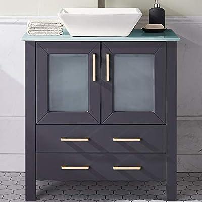 30 Inch Dark Gray Bathroom Vanity Sink Combo,Bath Vanity with Sink Single Bathroom Vanity Cabinet with Ceramic Sink,Modern Bathroom Vanity Set with 1 Shelf 2 Drawers