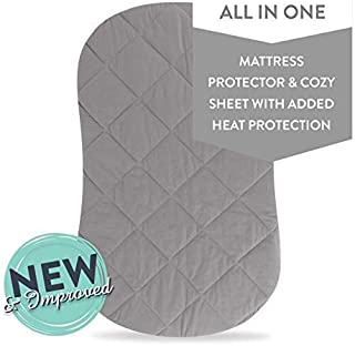 Jersey Cotton Quilted Waterproof Hourglass Sheet, All in one Bassinet Sheet and Bassinet Mattress Pad Cover with Heat Protection by Ely's & Co. (Grey)