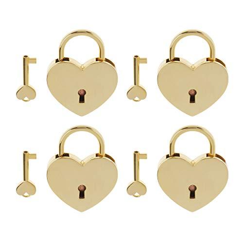 F Fityle Candado con Forma de Corazón Vintage de 4 Piezas con Llave, Juego de Cerradura para Manualidades con Maleta Pequeña, Dorado L