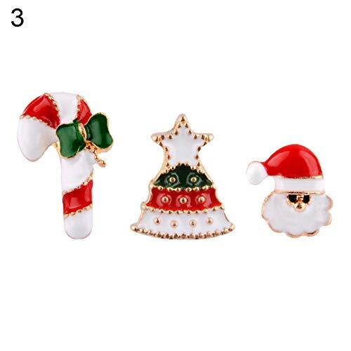 Danigrefinb 4 Stück Weihnachtsschmuck Geschenk Schneeflocke Rentier Stiefel Strass-Brosche Anstecknadel Party Dekoration Geschenk für Damen und Herren