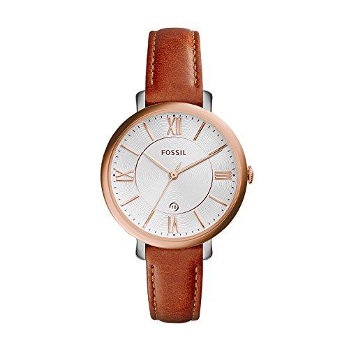 Fossil Damen Analog Quarz Uhr mit Leder Armband ES3842