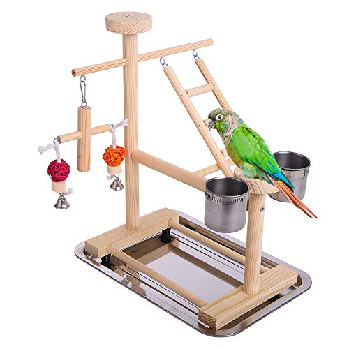 KAMA BRIDAL 鳥 遊び スタンド 小中型 バード 玩具 登りラダー スイングバー トレイ 餌入れ 水入れ カップ ベル 組み立て簡単 小動物遊びジム 39cm*29cm*45cm