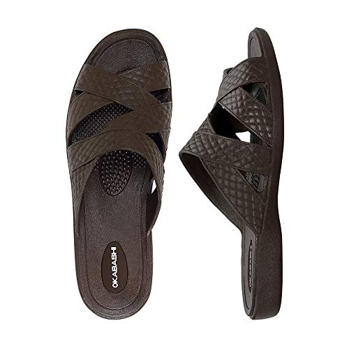 OKABASHI Women's Cross-Strap Sandal (Brown, L)   Daily Sandals w/Arch Support   Helps Relieve Foot Soreness & Pain