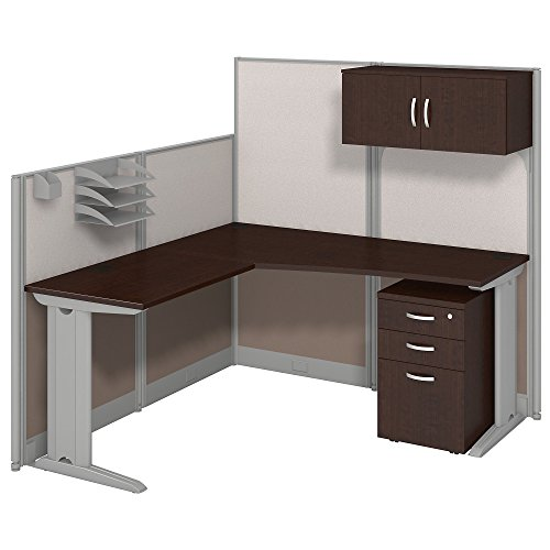 Office in an Hour 65W x 65D LWorkstation with Storage and Accessory Kit in Mocha Cherry, Large (WC36894-03STGK)