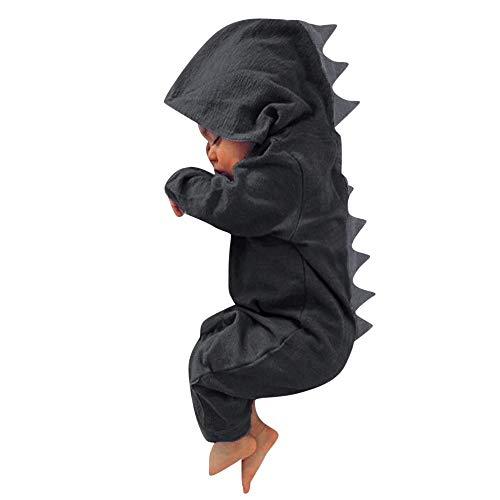 SUCES Baby Overall Junge Mädchen Niedlich Karikatur Dinosaurier Kapuzenpullover Einfarbig Lange Ärmel Mit Kapuze Onesies Mode Beiläufig Bodysuit Gemütlich Baumwollmischung Outfits(Grau4,12M)