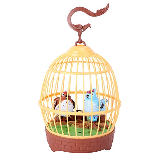 Toddmomy Singing Chirping Bird Activated Bird in Cage Bird Sounds Movements Plaything Bird Animal Singing Toys for Kids Children Toddler Educational Toys Orange No Batteries