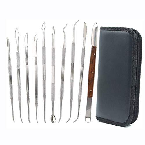 LYAID 10 Stück Wachsschnitzer Werkzeuge, Doppelend Edelstahl Wachs Ton Skulptur Schnitzen DIY Werkzeuge Kit, Spatel Meißel Schnitzer Set für Keramik Schnitzen, Formen, Detaillieren