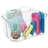 mDesign tragbarer Organizer – Durchsichtiger Aufbewahrungskorb mit Fächern – Bastelsachen und Bürobedarf – Aufbewahrung für Knöpfe, Scheren, Stifte – Farbe: Transparent -