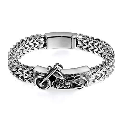 OIDEA Pulsera para hombre de acero inoxidable y plata con cadena de trigo, 22 cm de longitud, estilo gótico, motero