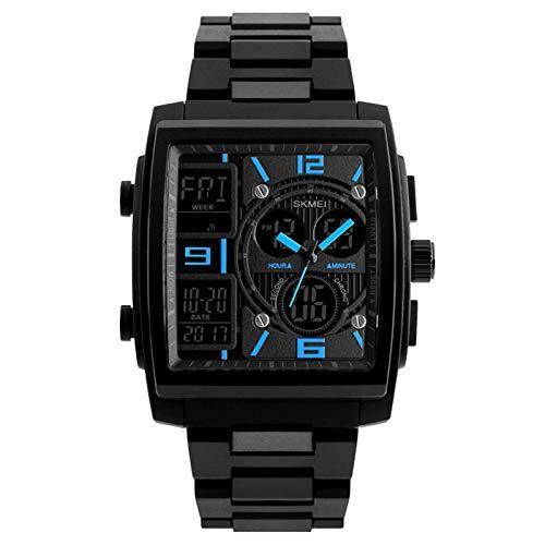 JTTM Reloj Electrónico 4 Colores Reloj Digital LED Correa De Acero Inoxidable Esfera Rectangular,Azul