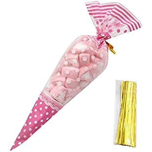 Xuxuou 50pcs Clear Plastic Cone Bags Sweet Bags with Assorted Twist Ties Xmas Holiday Kids Cellophane Gift Bag for Candy Sweets Treats:Iracematravel