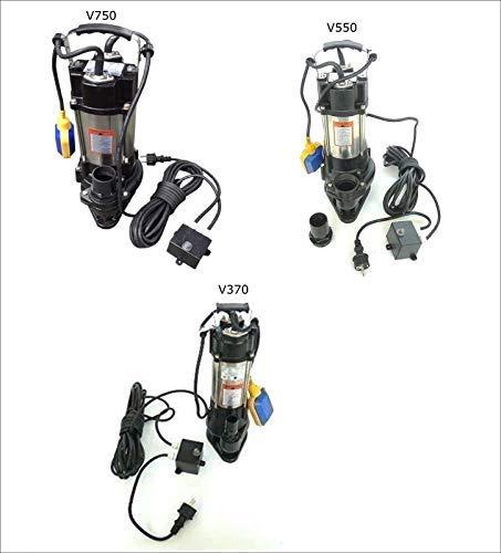 CHM Fäkalienpumpe Tauchpumpe Schmutzwasserpumpe 370-750 Watt Typ V370 / V550 / V750 INOX/Edelstahl mit Schwimmerschalter, Schneidwerk + Trockenlaufschutz. (V370)