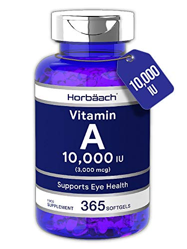 Vitamin A 10,000IU | 365 Softgel Capsules | High Strength Supplement for Healthy Skin & Vision | Non-GMO, Gluten Free | by Horbaach