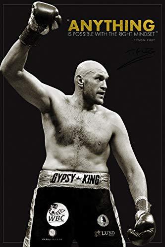 Tyson Fury quote Foto gedrucktes Poster – aufgedruckte Unterschrift – 12x8 inches (30x20 cm) - Anything is possible