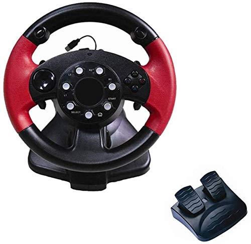 WUAZ Volant De Course avec Vitesse Responsive Et Pédales pour PS 3 / PS 2 / PC, pour 200 ° Jeu De Course Volant À Double Moteur Vibration Feedback Conduite