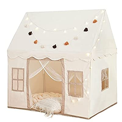 Play Tent with Mat, Large Kids Playhouse with Windows Easy to Wash, Indoor and Outdoor Play Tent for Kids, little dove Toys for Girls,Neutral Color,47x40x52 by little dove