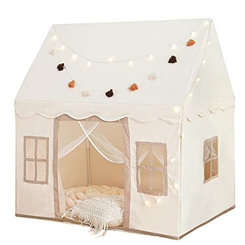 Play Tent with Mat, Large Kids Playhouse with Windows Easy to Wash, Indoor and Outdoor Play Tent for Kids, little dove Toys for Girls,Neutral Color,47x40x52