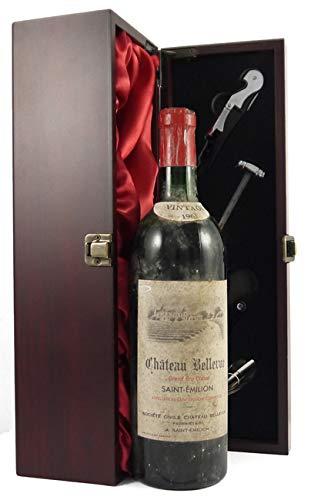 Chateau Bellevue 1961 St Emilion Grand Cru Classe in einer mit Seide ausgestatetten Geschenkbox, da zu 4 Weinaccessoires, 1 x 750ml