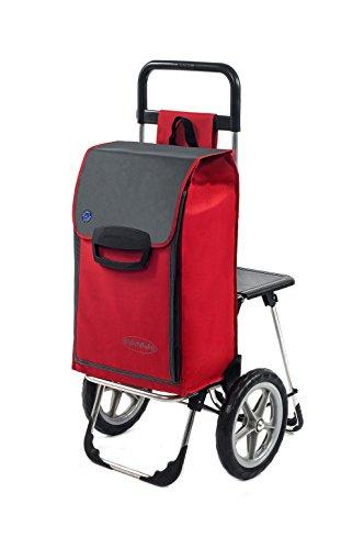 Aurora Einkaufstrolley Fajena mit Klappsitz & Kühlfach in rot mit 65L - Einkaufsroller Trolley bis 50kg belastbar mit großen, abnehmbaren flüster Rädern