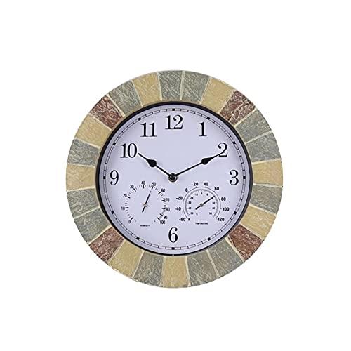 XBYUNDING Reloj de Pared al Aire Libre,Cerradura a Prueba de Intemperie de 14 Pulgadas con Temperatura y Humedad Adornos al Aire Libre para jardín para jardín/Patio/Patio/casa.