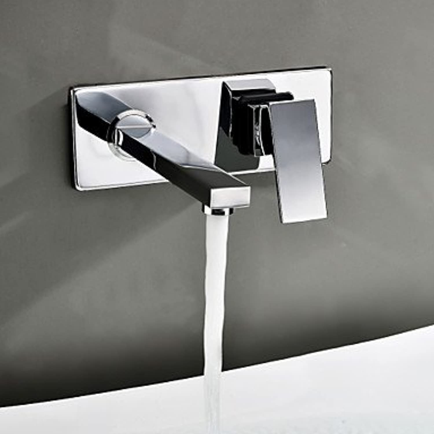 AA Faucet£? Contemporary modern wall-mounted waterfall valves with copper two hole Chrome bathroom sink faucet
