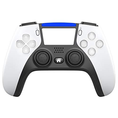 Controlador Inalámbrico para Playstation 4/Pro/Slim, Consola de Juegos PS4 Gamepad Bluetooth Control Inalámbrico con Joystick de Juego de VibracióN Dual, con Botones de Programación Extendidos,Blanco