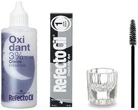 Refectocil KIT - Cream Hair Dye + Creme Oxidant 3% 3.4oz + Mixing Dish + Mascara Brush (Pure Black)