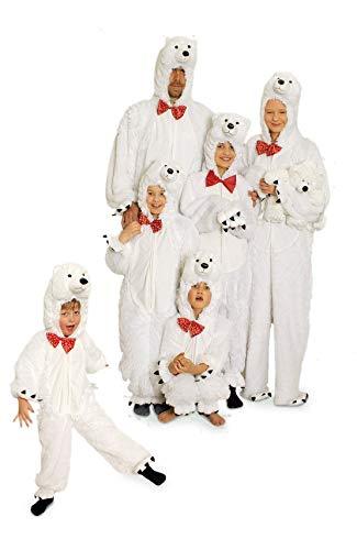 narrenkiste K332505/T2880/T2901-140-152 weiß Mädchen Junge Kinder Eisbär Kostüm-Overall Gr.140-152