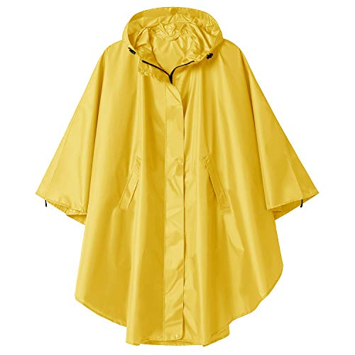 Poncho Impermeable Reutilizable Adulto Unisex Chubasquero Capa de Lluvia Nieve Amarillo Sólido