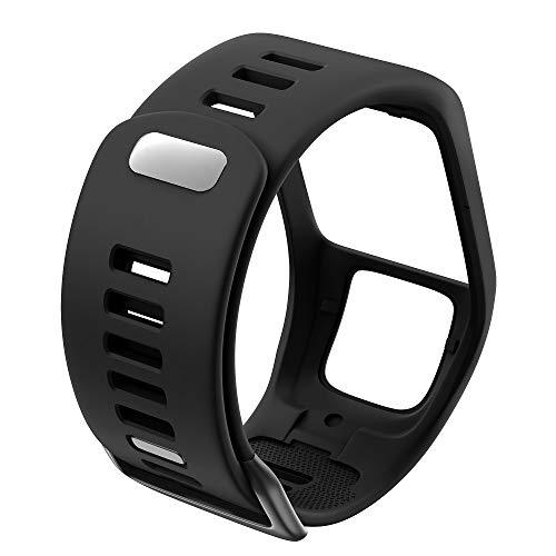 DJDLOK Silicona Reemplazo de Pulsera Reloj Correa para Tomtom Runner 2 3 Spark 3 GPS Reloj Deportivo para Tomtom 2 3 Series Soft Smart Band (Band Color : Black)