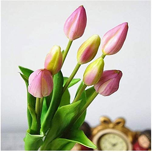 LYDIANZI Tulip Artificial Flores Tulipán Flor Táctil Real Toque para La Decoración De Ramo De Boda Flores 7 Unids(Size:7PCS,Color:GRAMO)
