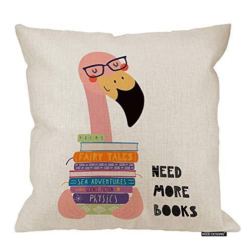Funda de cojín Flamingo, Lindo Flamenco Divertido con una Pila de Libros Cita Necesita más Libros Funda de Almohada Decorativa Cuadrada Decorativa de Lino de algodón 18x18 Pulgadas