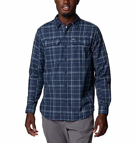 Columbia COR22 Silver Ridge 2.0 Camicia A Maniche Lunghe A Quadri, Uomo, Collegiate Navy Grid Lines, L