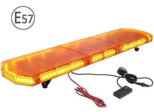 PROZOR Lampeggiante Led Auto Tetto 88W con Omologazione Lampada Emergenza 88LED IP65 Luce Stroboscopica Ambra 21 Modalità con 5M Cavo Alimentazione Interruttore di Controllo per Auto Rimorchio 12/24V