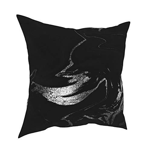 Funda de cojín con cremallera, color negro, plateado, gris grafito y mármol, para decoración diaria, funda de cojín con cremallera, para regalo, hogar, sofá, cama, coche, 45,72 x 45,72 cm