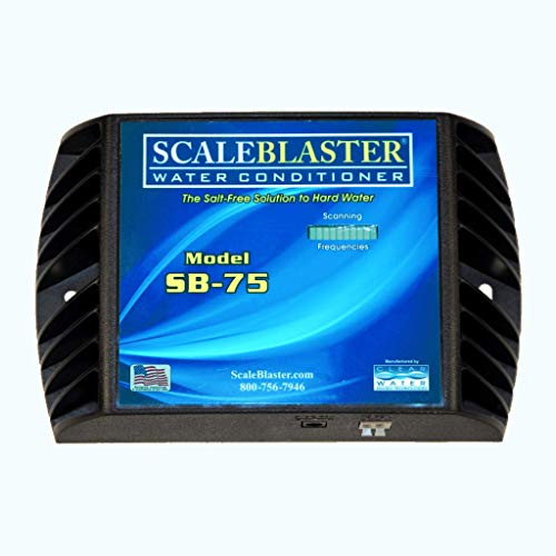 ScaleBlaster SB-75 Scale Blaster Black with Warranty, Sustainable Hard Water Softener Conditioner Descaler, Limescale Remover, Salt and Chemical Free, Made in the USA
