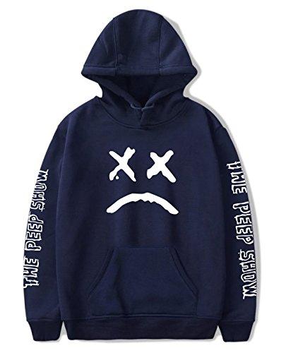 SIMYJOY Amants Hip Pop Sweats à Capuche Emo Rap Pulls Crybaby Spotlight Cool Street Fashion Sweat Shirt pour Homme Femme Adolescent Bleu M