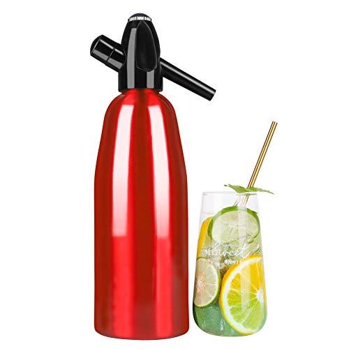 HXSD Siphon DE Agua DE Soda 1 LITRO, Fabricante de refrescos de refrescos Manual, Fabricante de refrescos de Aluminio, Rojo