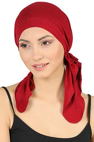 Deresina Vorgebunden Tücher der Baumwolle für Haarausfall, Krebs (Burgund)
