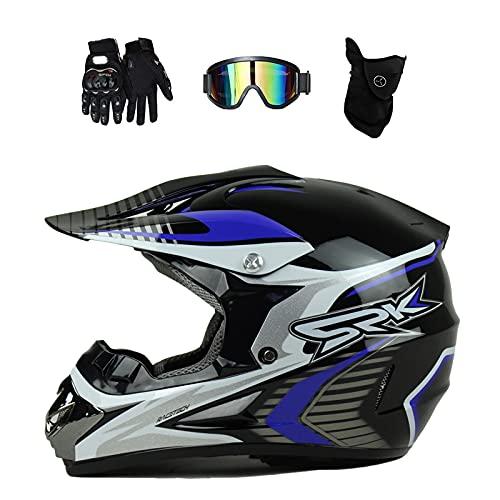 VOMI Casco de Motocross Infantil con Gafas (4 Pcs/Negro y Blanco) Casco MTB Integral Pro Protecciones Casco Moto Cross para Enduro MX Quad Descenso Enduro Motocicleta,S