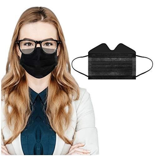 WYXlink 50/100Pezzi Anti-appannamento Tessuto Bocca Monouso 3 Strati Protezione Viso - Traspirante Visiera Comodi Antipolvere Filtranti per All'aperto Sportivo (Nero 50Pezzi)