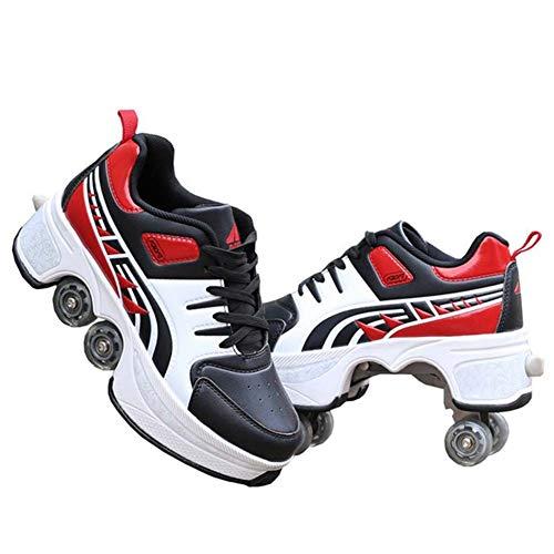 Fbestxie Rollschuh-Schuhe Vierrädrige Rollschuhe Automatische Zweifach-Rollschuhe Lässige Verformung Zweireihig für Kinder und Erwachsene,35
