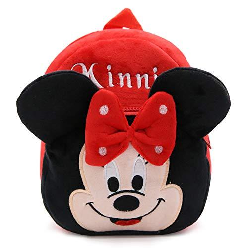 BAIBEI Zaino per Bambini, Disney Minnie Mouse Zaino per Bambina, Zaino per Bambini Carino Animale Scuola Borsa in Peluche 3D per Scuola Materna Viaggio