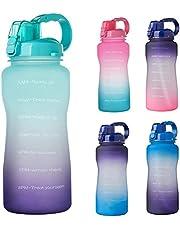 Doherty Sport waterfles - 2L lekvrije BPA-vrije drinkfles met tijdmarkering en afneembaar rietje voor fitness, gym, reizen vissen
