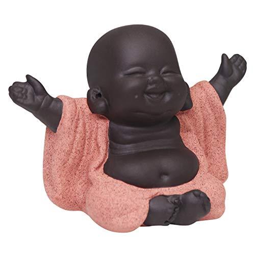 Buddha Statue, Ceramic Cute Baby Buddha Decor, Little Monk Figurine Smiling Buddha Decor, Lovely Ceramic Buddha, Chinese Tea Set Accessories Collections, Home Office Car Decors