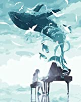 YTHSFQ 数字の絵の具 ピアノとクジラ DIYペイント番号キット 子供 大人 DIY キャンバスペインティング 数字 アクリル絵画 アートクラフト ホームウォールデコレーション ペイント 番号16x20インチ