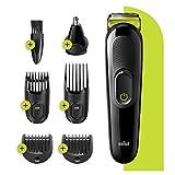 Braun MGK3221 6-En-1 - Tondeuse à cheveux et barbe, Tondeuse Nez Et Oreilles, Noir/Vert