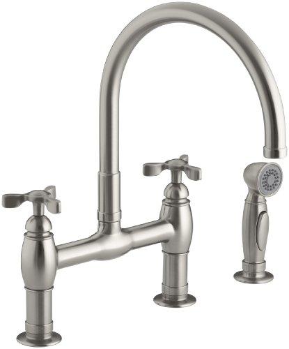 Big Sale Best Cheap Deals Kohler K-6131-3-VS Parq Deck-Mount Kitchen Faucet with Spray, Vibrant Stainless