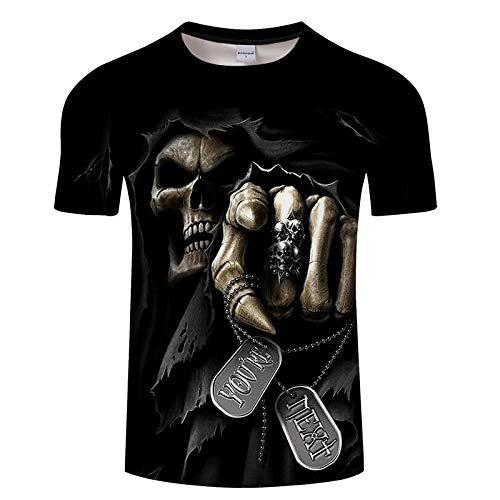 Camiseta Camiseta con Estampado De Calavera 3D Top Suelto De Manga Corta De Verano-C_L